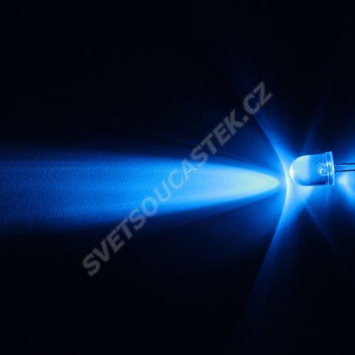 LED 10mm modrá 8200mcd/23° čirá Hebei 1025LB7C