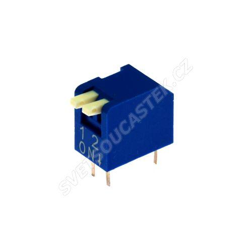 DIP přepínač PIANO 2pólový RM2.54 modrý Kaifeng KF1002-02PG-BLUE