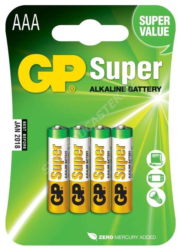 Alkalická batéria GP Super LR03 (AAA), 4 ks v blistri