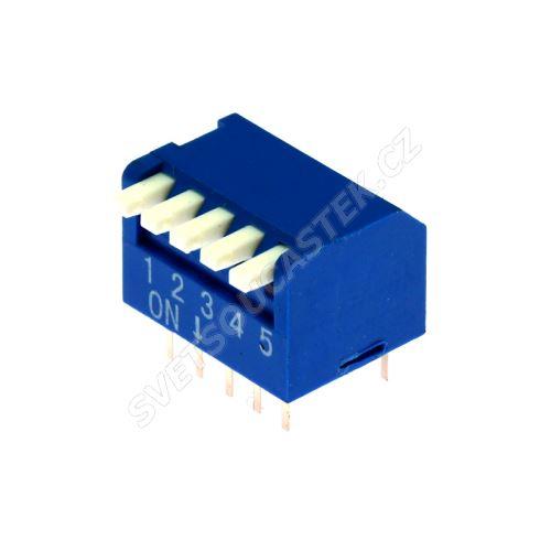 DIP přepínač PIANO 5pólový RM2.54 modrý Kaifeng KF1002-05PG-BLUE