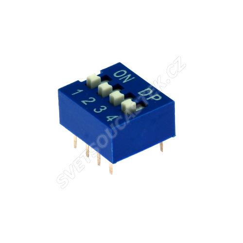 DIP přepínač 4pólový RM2.54 modrý Kaifeng KF1001-04PG-BLUE