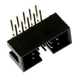 Konektor IDC pro ploché kabely 10 pinů (2x5) RM2.54mm do DPS úhlový 90° Xinya 118-A 10 G R K
