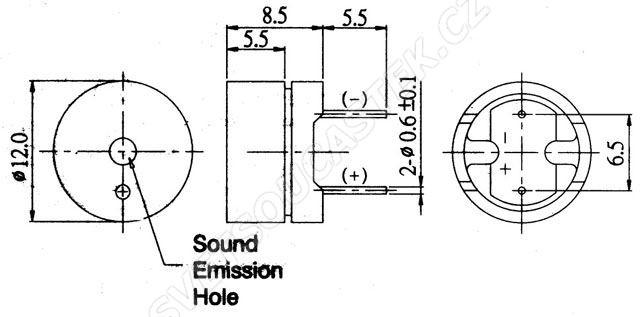 Magnetodynamický měnič 85dB 1.5VAC 30mA 2KHz Algoodwell KPB1220