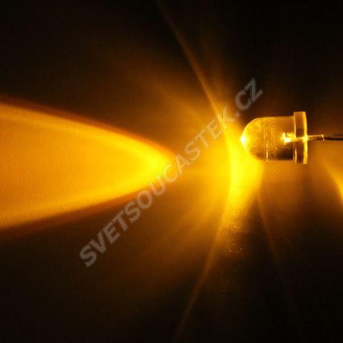 LED 8mm žlutá 6000mcd/20° čirá Hebei 825MY8C