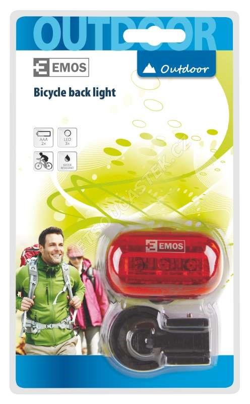 Svítilna na kolo 3x LED, na 2x AAA - zadní
