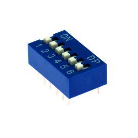 DIP přepínač 6pólový RM2.54 modrý Kaifeng KF1001-06PG-BLUE