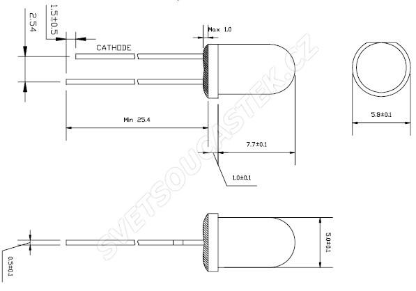 LED 5mm stud. bílá 15000mcd/23° čirá Hebei 520PWC