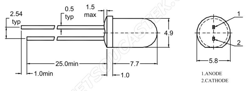 LED 5mm zelená 100mcd/30° difúzní Wenrun LAG50330