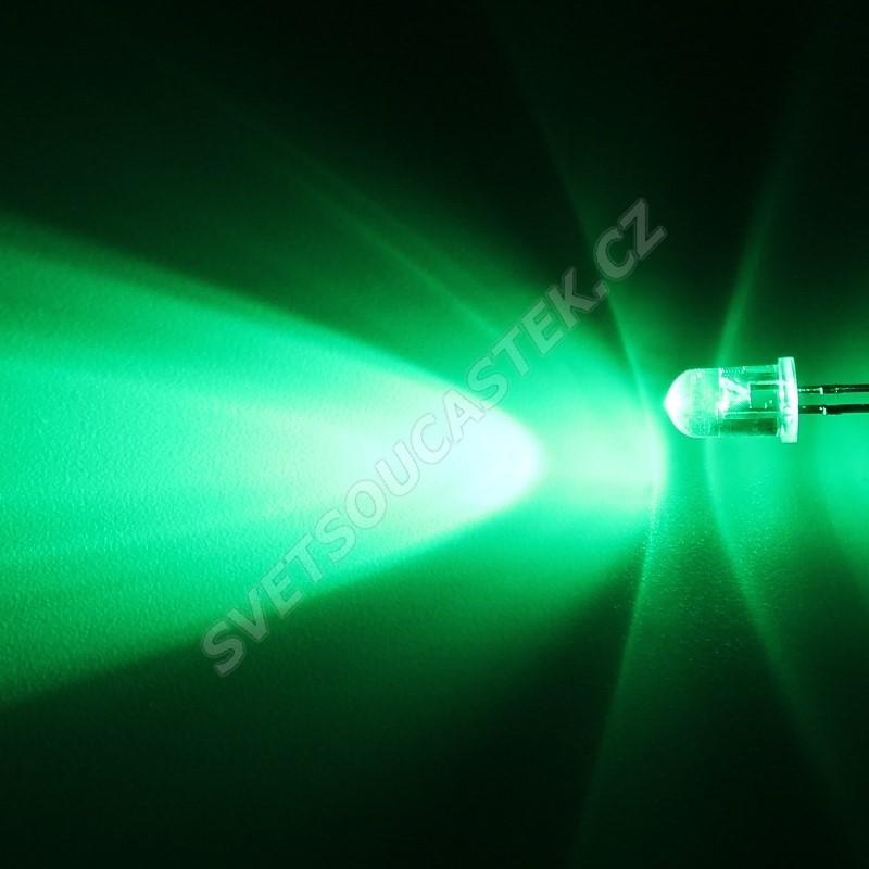 LED 5mm zelená 16000mcd/30° čirá Hebei 530PG2C