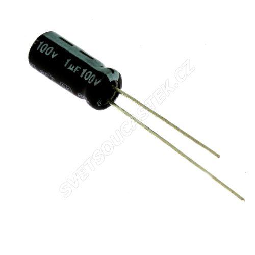 Elektrolytický kondenzátor radiální E 1uF/100V 5x11 RM2 85°C Jamicon SKR010M2AD11M