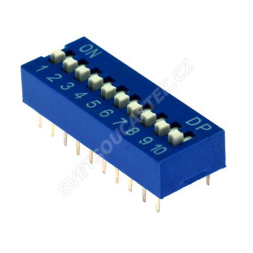 DIP přepínač 10pólový RM2.54 modrý Kaifeng KF1001-10PG-BLUE