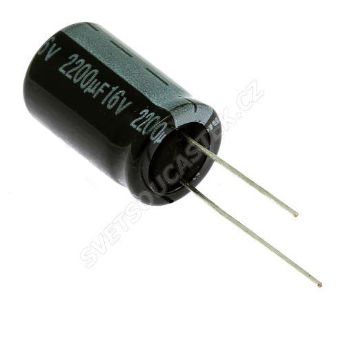 Elektrolytický kondenzátor radiální E 2200uF/16V 12.5x20 RM5 85°C Jamicon SKR222M1CJ21M