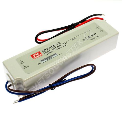 Napájací zdroj pre LED pásky 100W 12V / 8.5A IP67 Mean Well LPV-100-12