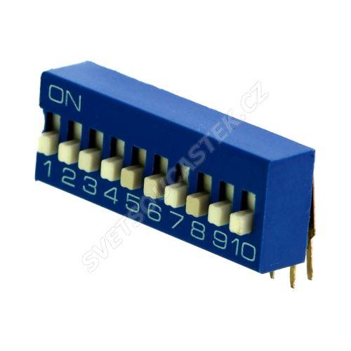DIP přepínač stojatý 12pólový RM2.54 modrý Kaifeng KF1003-12PG-BLUE