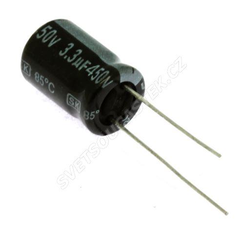 Elektrolytický kondenzátor radiální E 3.3uF/450V 10x16 RM5 85°C Jamicon SKR3R3M2WG16M