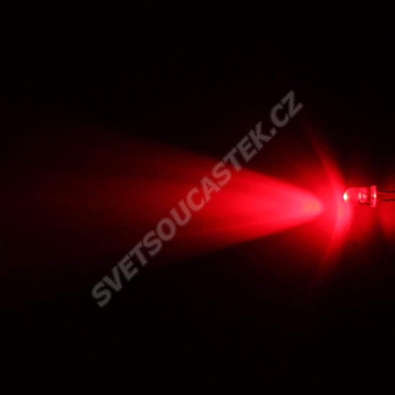 LED 5mm červená 8000mcd/23° čirá Hebei 520PR2C
