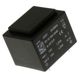 Trasnformátor do DPS 2.6VA/230V 2x15V Hahn BV EI 304 2048
