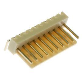 Konektor se zámkem 10 pinů (1x10) do DPS RM2.54mm úhlový 90° pozlacený Xinya 137-10 R G