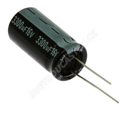 Elektrolytický kondenzátor radiální E 3300uF/16V 13x26 RM5 85°C Jamicon SKR332M1CJ26M