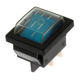 Kolébkový spínač do panelu IP44 spínací 2-pólový ON-OFF 20/15A 125/250V AC Jietong  RS-201-1C3-BL/B +WPC-08