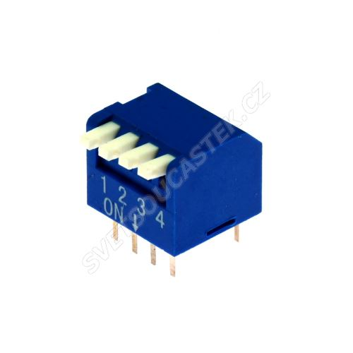 DIP přepínač PIANO 4pólový RM2.54 modrý Kaifeng KF1002-04PG-BLUE