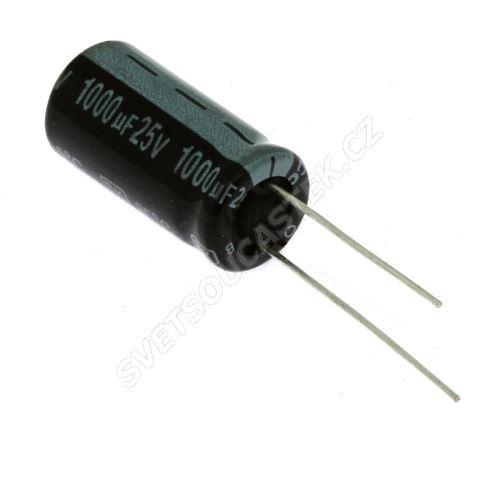 Elektrolytický kondenzátor radiální E 1000uF/25V 10x20 RM5 85°C Jamicon SKR102M1EG21M