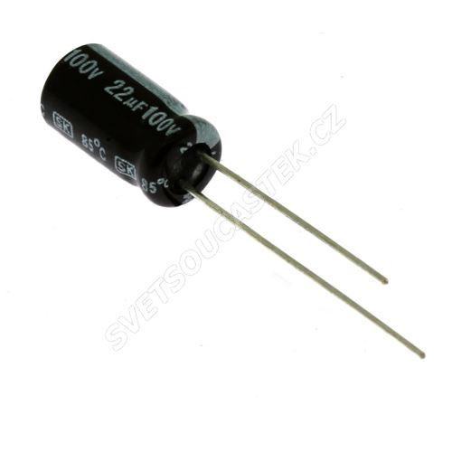Elektrolytický kondenzátor radiální E 22uF/100V 6.3x11 RM2.5 85°C Jamicon SKR220M2AE11M