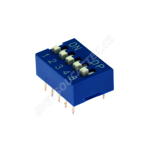 DIP přepínač 5pólový RM2.54 modrý Kaifeng KF1001-05PG-BLUE
