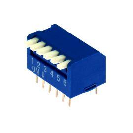 DIP přepínač PIANO 6pólový RM2.54 modrý Kaifeng KF1002-06PG-BLUE