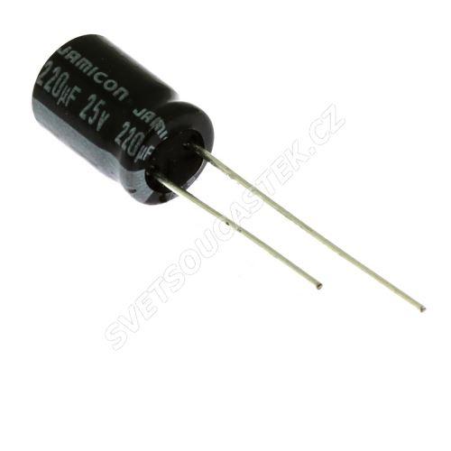 Elektrolytický kondenzátor radiální E 220uF/25V 8x11.5 RM3.5 85°C Jamicon SKR221M1EFBBM
