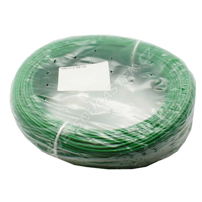 Jednožilový vodič lanko 1x0.5mm zelený H05V-K (LgY, CYA) 300/500V