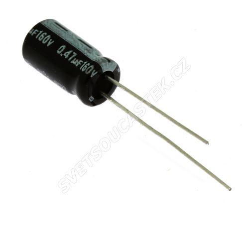 Elektrolytický kondenzátor radiální E 0.47uF/160V 6.3x11 RM2.5 85°C Jamicon SKRR47M2CE11M