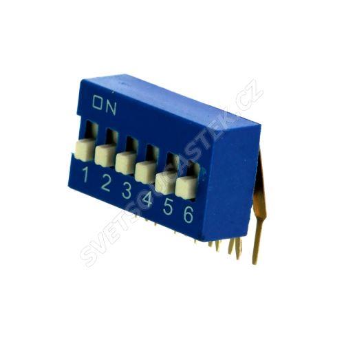 DIP přepínač stojatý 6pólový RM2.54 modrý Kaifeng KF1003-06PG-BLUE