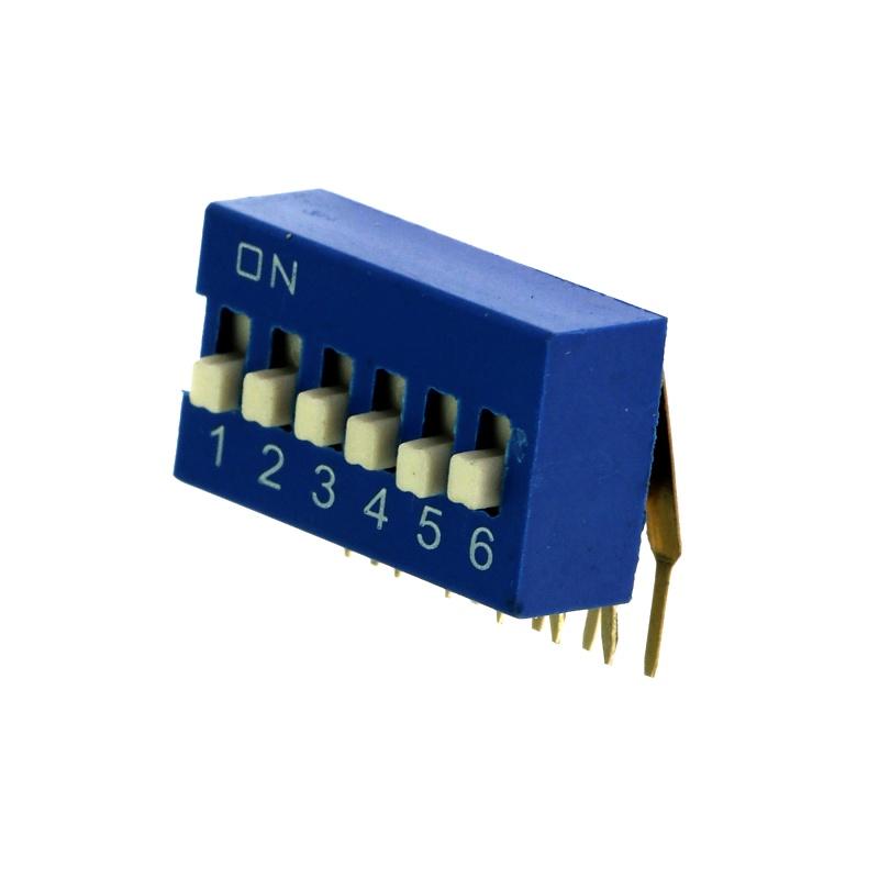 Levně Dip přepínač stojatý 6pólový rm2.54 modrý kaifeng kf1003-06pg-blue