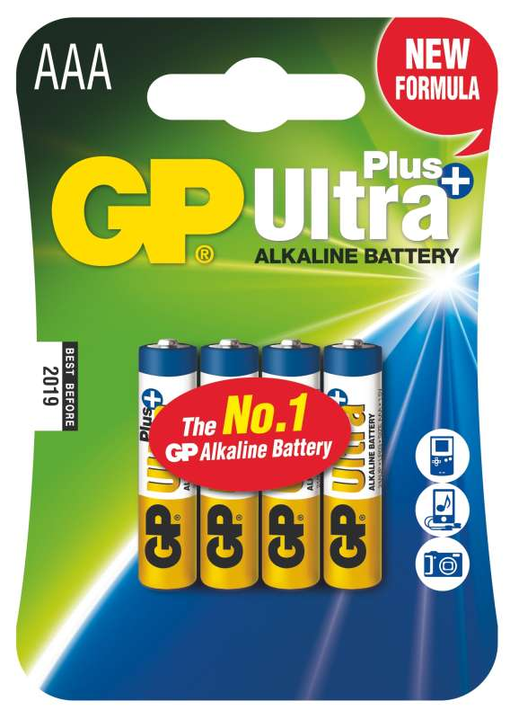 GP Batteries Alkalická baterie GP Ultra Plus LR03 (AAA), 4 ks v blistru