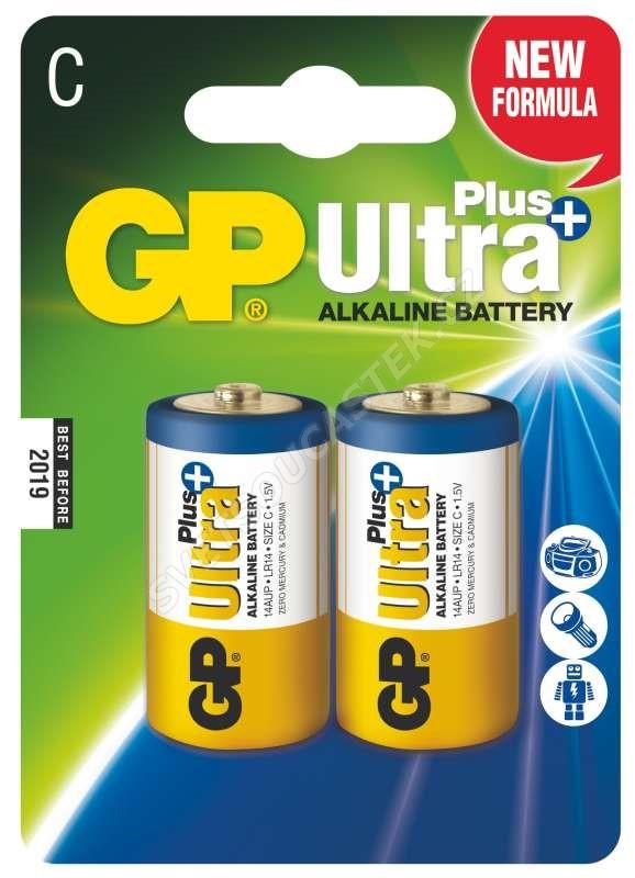 Alkalická baterie GP Ultra Plus LR14 (C), 2 ks v blistru
