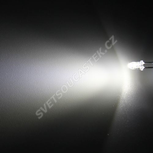 LED 3mm stud. bílá 8000mcd/30° čirá Hebei 330PWC