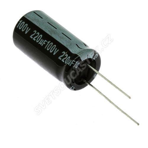 Elektrolytický kondenzátor radiální E 220uF/100V 13x26 RM5 85°C Jamicon SKR221M2AJ26M