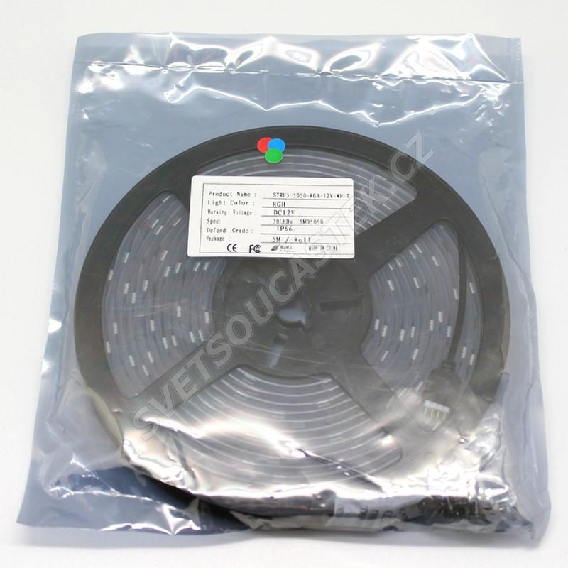 LED pásek RGB, SMD 5050, 30LED/m (balení 5m) - vodotěsný (silikon) STRF 5050-30-RGB-IP66