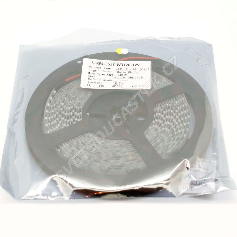 LED pásek teplá bílá délka 1 metr, SMD 3528, 120LED/m - nevodotěsný Hebei STRF4-3528-W3-120-12V