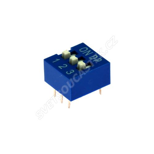 DIP přepínač 3pólový RM2.54 modrý Kaifeng KF1001-03PG-BLUE