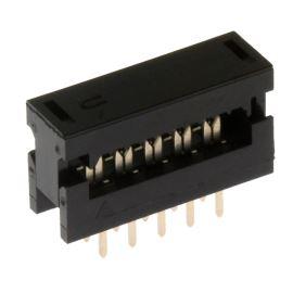 Konektor IDC pro ploché kabely 10 pinů (2x5) RM2.54mm samořezný do DPS přímý Xinya 123-10 G K