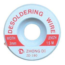 Měděné lanko pro odsávání cínu 3mm/1.5m Zhongdi ZD-180