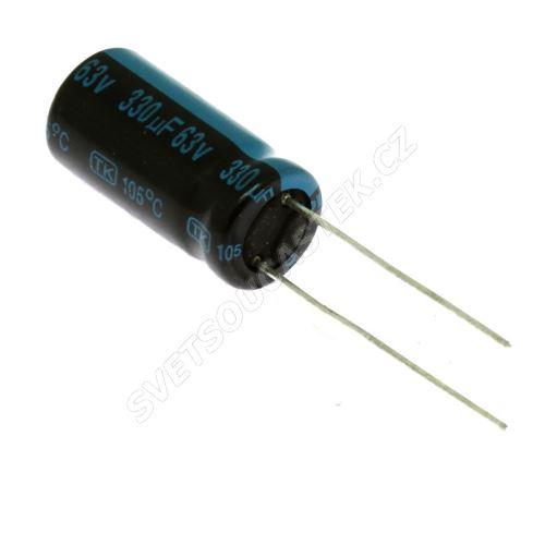 Elektrolytický kondenzátor radiální E 330uF/63V 13x21 RM5 105°C Jamicon TMR331M1JJ21M