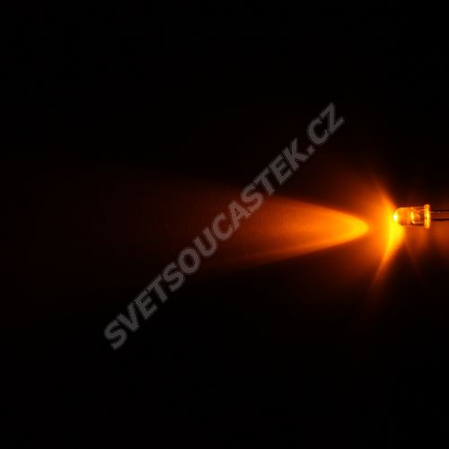 LED 5mm žlutá 6000mcd/23° čirá Hebei 520MY8C