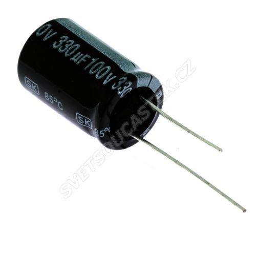 Elektrolytický kondenzátor radiální E 330uF/100V 16x25 RM7.5 85°C Jamicon SKR331M2AK25M