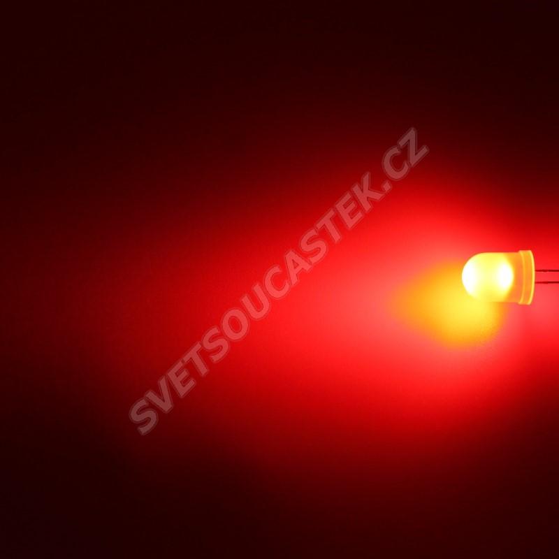 LED 10mm červená 1100mcd/50° difúzní Hebei 105MR2D