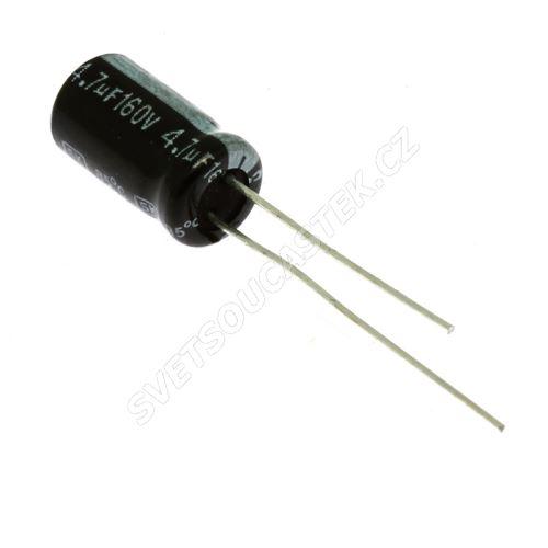 Elektrolytický kondenzátor radiální E 4.7uF/160V 6.3x11 RM2.5 85°C Jamicon SKR4R7M2CE11M