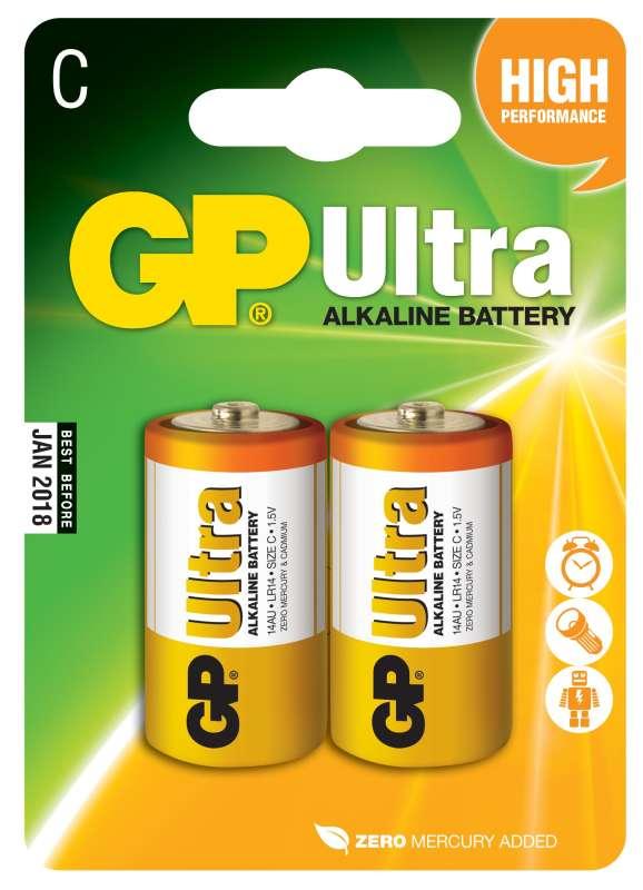 GP Batteries Alkalická baterie GP Ultra LR14 (C), 2 ks v blistru