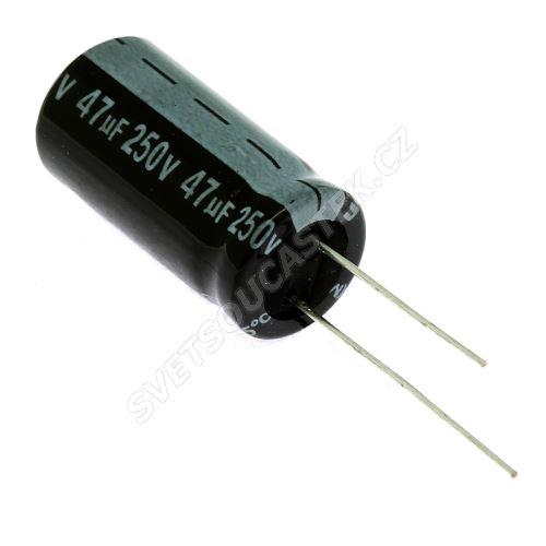 Elektrolytický kondenzátor radiální E 47uF/250V 13x26 RM5 85°C Jamicon SKR470M2EJ26M